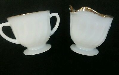 Vintage swirl milk glass cream & sugar with gold rim.  Fireking