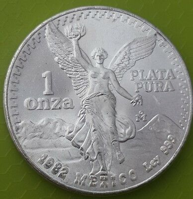 1982 Mexico Double Die One Onza .999 Silver Libertad Coin DDO ~Rare Error Coin