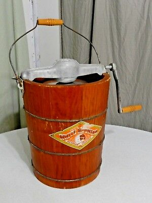 Vintage White Mountain Ice Cream Freezer Maker w/ Nice Orange Wooden Bucket