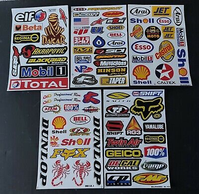 Pack Of 5 Five Sheets Of Bmx Moto-X Motor Sport Rally Racing Stickers:- Lot A