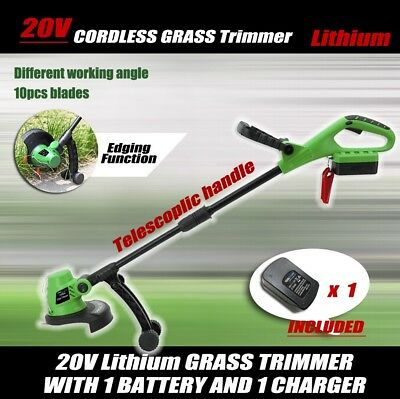 20V Lithium Grass Trimmer Lawn Grass Edge Brush Cutter w/ Blade & Wheels