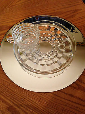 Vtg 6-Piece Tiered Crystal Cut Glass Luncheon Set W/Pedestal Cup Bases 12 Pieces