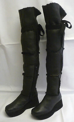 STEPHANE KELIAN Womens 7.5 - 8 Tall Knee Platform Wedge Boots Black Shearling