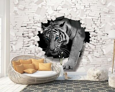 Wall Mural Photo Wallpaper EASY-INSTALL Fleece 3D Tiger coming out from the Wall