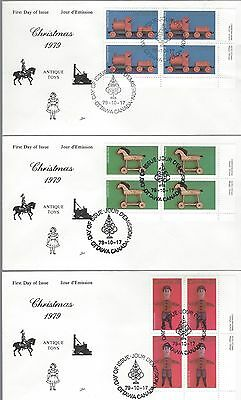1979 Christmas # 839-41 Antique Toys LR PL BLK Set of 3 FDC with NR Cover cachet