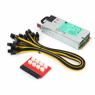 1200W Switching Power Supply for GPU Rig Mining Ethereum BTC ETH DPS-1200FB A QG