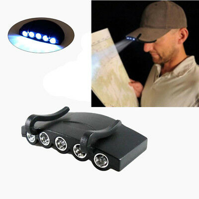 5 LED Light Headlamp Clip On Cap Hat Torch Fishing Camp Hunting Outdoor