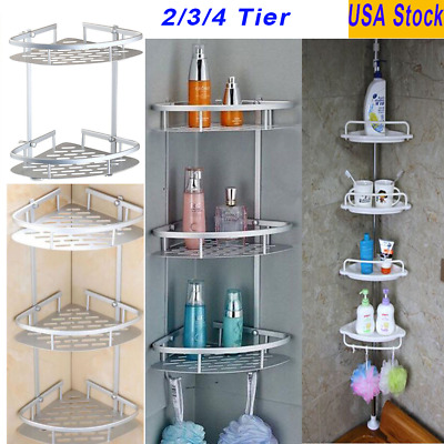 2/3/4 Tier Shower Bath Caddy Shelf Bathroom Corner Rack Storage Holder Organizer