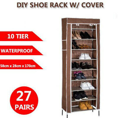 10 Tier 27 Pairs Shoe Rack Cabinet Storage Organiser Stand with Cover AU Seller
