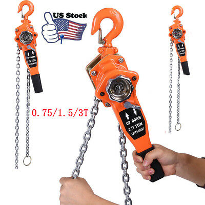 0.75/1.5/3T 0.75t  Chain Block Hoist Ratchet Ratchet 3M Lever Pulley Lift Orange