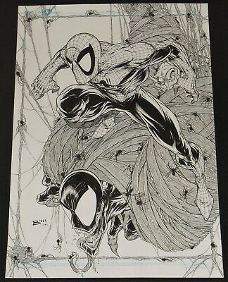 ORIGINAL 11 x 17 PENCIL SKETCH AMAZING SPIDERMAN VENOM JAMIE BIGGS GREEN GOBLIN