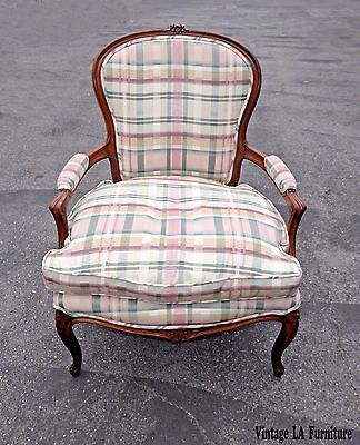 Vintage French Country Louis Carved Wood Green & Pink Plaid Down Cushion Chair