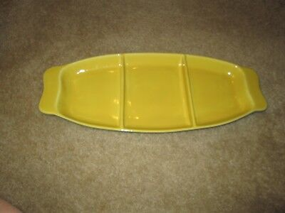 RARE! GABRIEL PASADENA divided serving tray-dish in yellow with green. MINT! 445