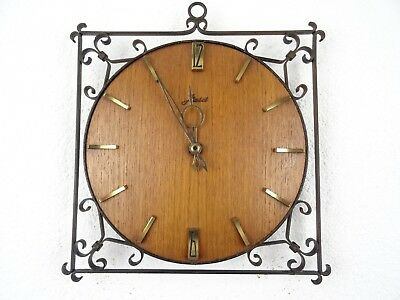 HAID Teak German Retro Vintage Design Art Deco Wall Clock (Junghans Hermle era)