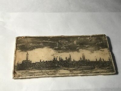 Antique wax etching of Augsburg Germany skyline vintage artwork wall plaque