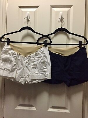Motherhood Maternity Shorts Lot 2 Small Navy Blue and White