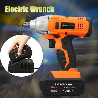 20V 1/2'' 12000mAh Cordless Impact Wrench 2800r/min + Li-ion Battery/Charger