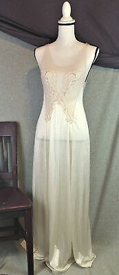 Vanity Fair Womens S Vintage 70s Gown Lingerie Negligee Maxi Antron Sheer Lace