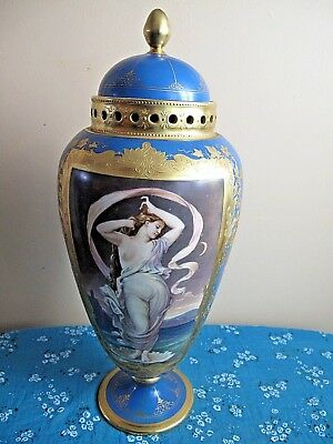 Antique Pirkenhammer Porcelain Hand Painted Vase Turquoise Raised Gold and Nude
