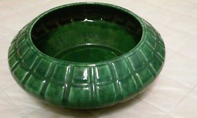 Vintage Haeger USA Pottery green oval planter or bowl ribbed 794