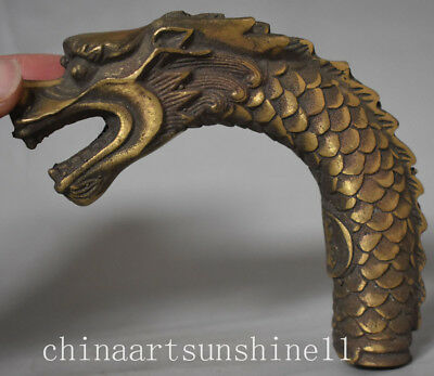 Chinese Collectible Bronze Handmade Carved Dragon Statue Walking Stick Head