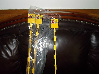 "(4) RARE M&M Mars Metal Retail Display Shelf Hanging Hook 12 Clip Strip 32"" NEW"