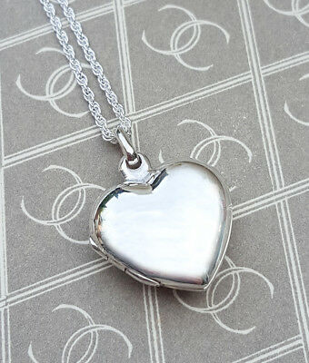"""Personalised Sterling Silver Heart Shaped Locket Necklace 18"""" 20"""" ENGRAVE"""