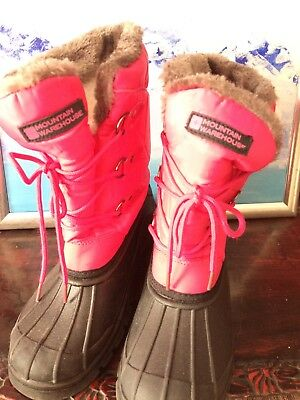 Girls Snow Boots - Pink & Black - Mountain Warehouse Size 4
