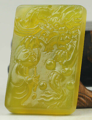 Old Chinese natural jade hand-carved dragon and buddha pendant NO.B761