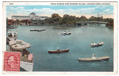 AK US USA Post Card Field Museum Wooded Island Jackson Park CHICAGO gel. 1920