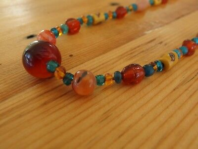 Antique, Ancient, Vintage stone & glass bead necklace, Arch Angel Hong Kong