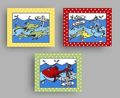 Dr. Seuss style bathroom wall art prints decor bath rules brush wash kids