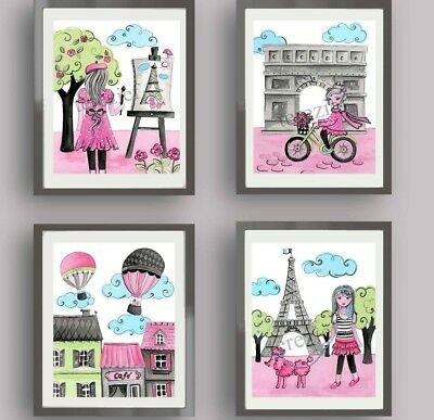 PARIS wall art decor TRAVEL BEDDING NURSERY EIFFEL TOWER GIRL CHILDREN PRINTS