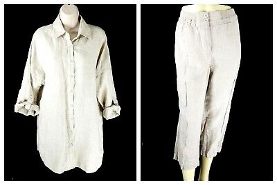 Chico's Size 2 Large 100% Linen Tunic Blouse & Crop Capri Set Tan Cruise Resort
