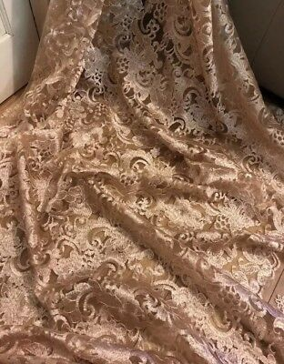"5 MTR BEIGE GOLD SOFT EMBROIDED PEARL BRIDAL LACE NET FABRIC..52/"" WIDE £59.99"