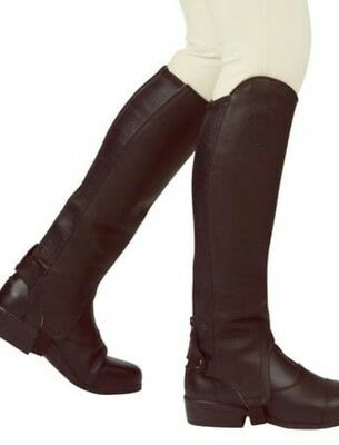 "1@B5 Leather Equestrian Horse riding Gaiters Half Chaps XL Brown 16H 17"" Calf"
