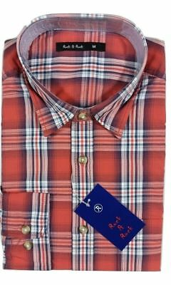 Men's Classic Retro Long Sleeve Vintage Style Cotton Red Check Mod Shirt Small
