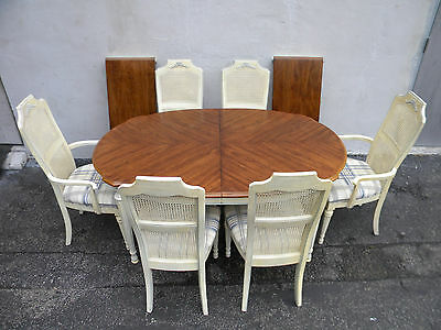 French Dining Table with 6 Caned Chairs and 2 Leaves by White 6079