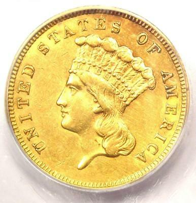 1860 Three Dollar Indian Gold Coin $3 - Certified ICG AU58 - $3,000 Value!