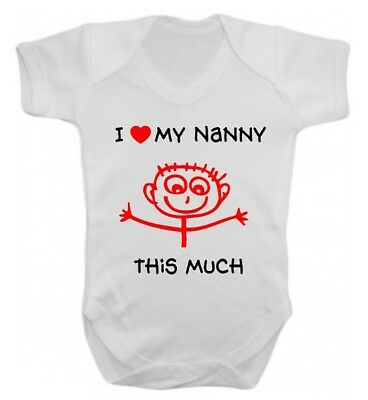 I Love My Nanny This Much Cute Baby Vest All in One Baby Gift Nana Grandma