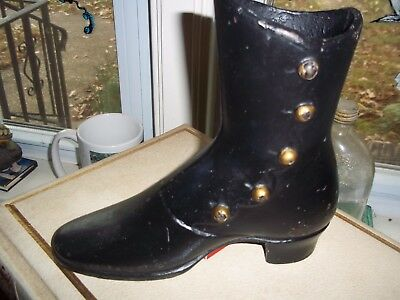 Antique Vintage Cast Iron Black Victorian Shoe Boot Door Stop Match Holder