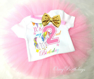 Rainbow Unicorn Pink Gold 2nd Second Birthday Shirt Girl Tutu Outfit Set Sq