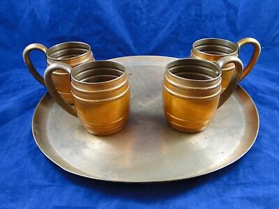 4 Vintage Cavalier Copper Cup Mug by National Silver & Copper Tray Moscow Mule