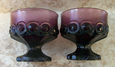 """2 Franciscan Tiffin Madeira PURPLE Amethyst 3.75"""" tall Footed Sherbet Champaign"""