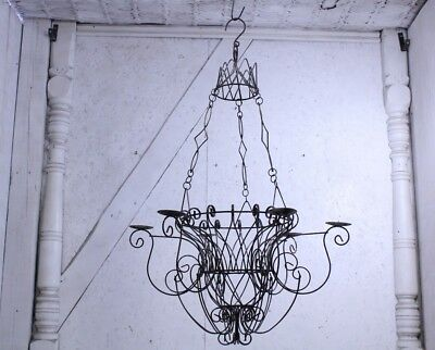 Wrought Iron Basket Chandelier Candelabra Lighting for Candles