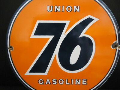Old Vintage Union 76 Gasoline Porcelain Enamel Gas Pump Station Sign