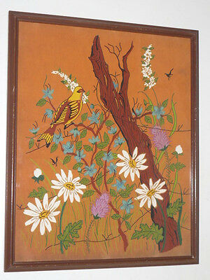 Original Mystery Art Deco Framed Painting on Cloth Bird Tree Flower Leaf Insects