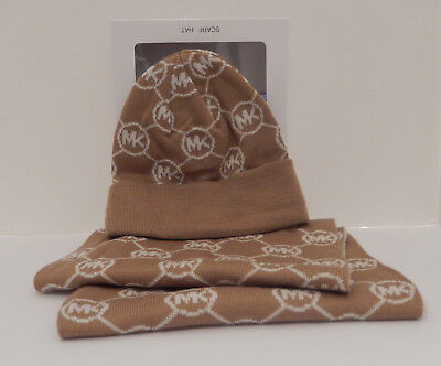 Genuine Michael Kors Light Brown Camel & Cream 2 Piece Scarf & Hat Set Gift Box