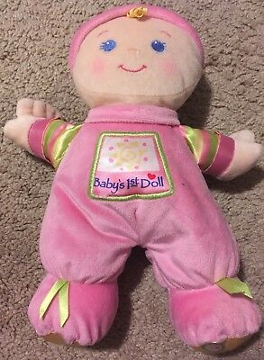 Fisher Price Brilliant Basics Baby's Baby Girl First Doll Soft Plush Lovey EUC