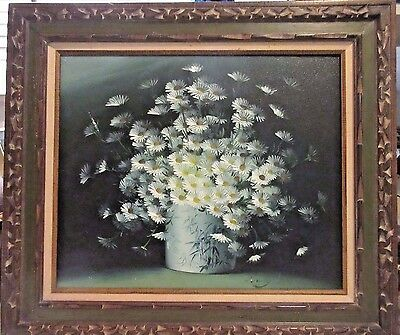 Original Vintage Painting by Listed Artist Nancy Lee - Floral/Daisies